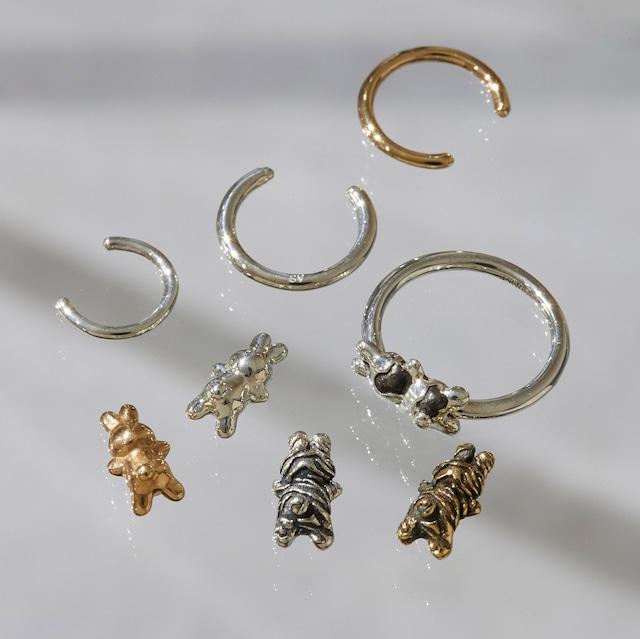 ゼブラうさぎ CHARMのsnap RING body jewelry チャーム単体 ® SILVER925 #LJ20046C