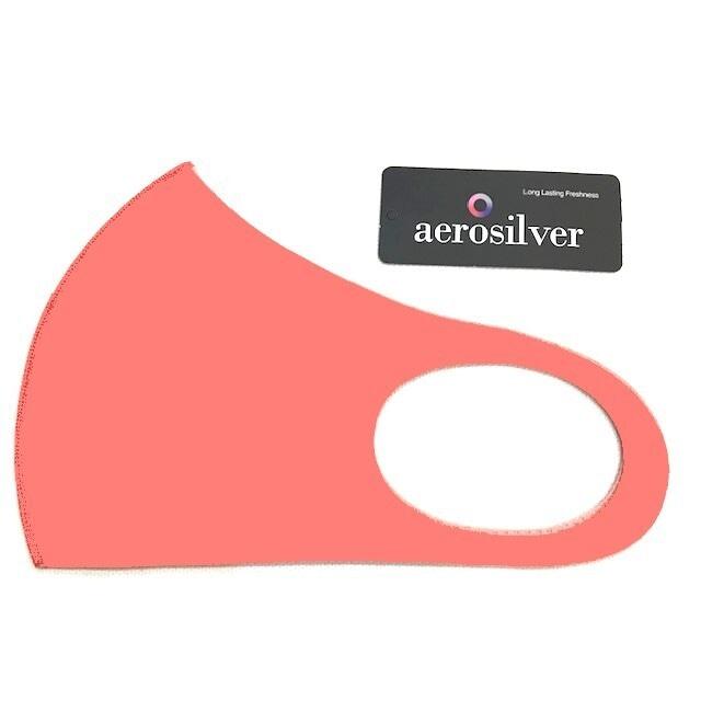 冷感接触洗えるマスク ピンク aeroslverファブリック使用 綺麗なフェイスライン♪