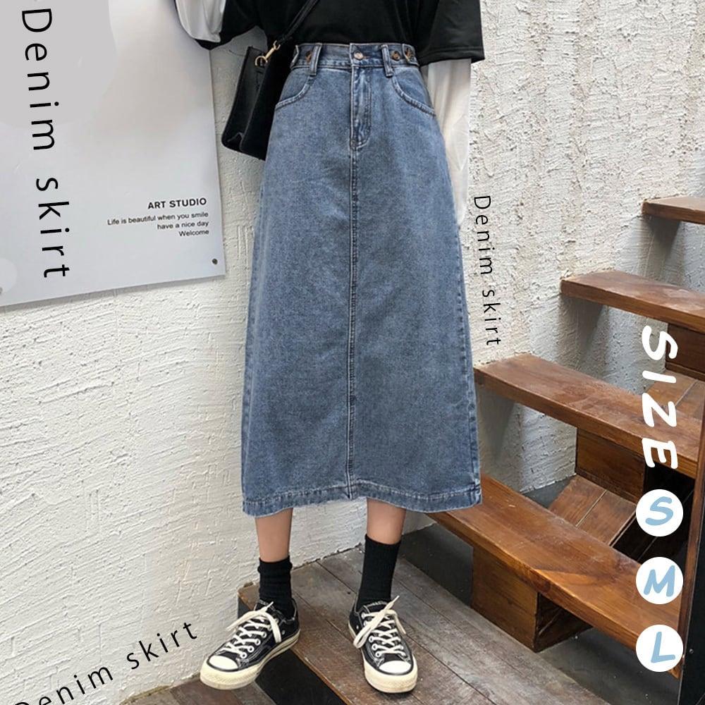 【即納】デニムスカート レディース バックスリット fa1823