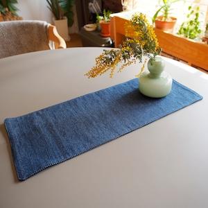 うしじま縫製 | 武州正藍染 テーブルランナー 長方形 一重刺子 リバーシブル