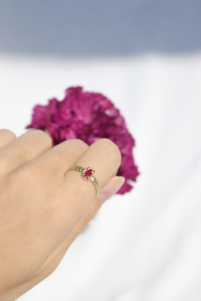 K18 Ruby Oriental Design Ring 18金ルビーオリエンタルリング