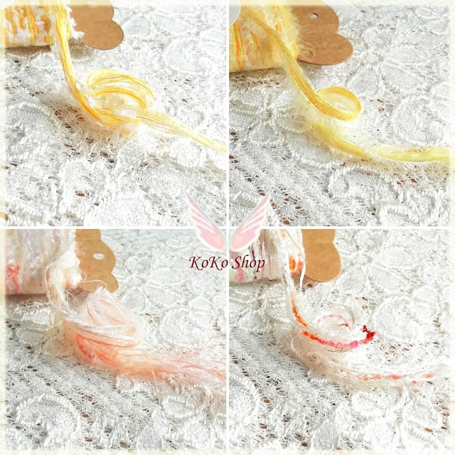 §koko§ 引き揃え糸カード ~黄色系セット~ オリジナル糸 ファンシー ラッピング レース タッセル