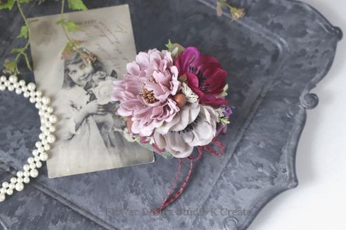 ダスティピンクのダリアとアネモネのコサージュ フォーマル 秋色 コサージュ 卒園式 入園式 結婚式 冠婚葬祭
