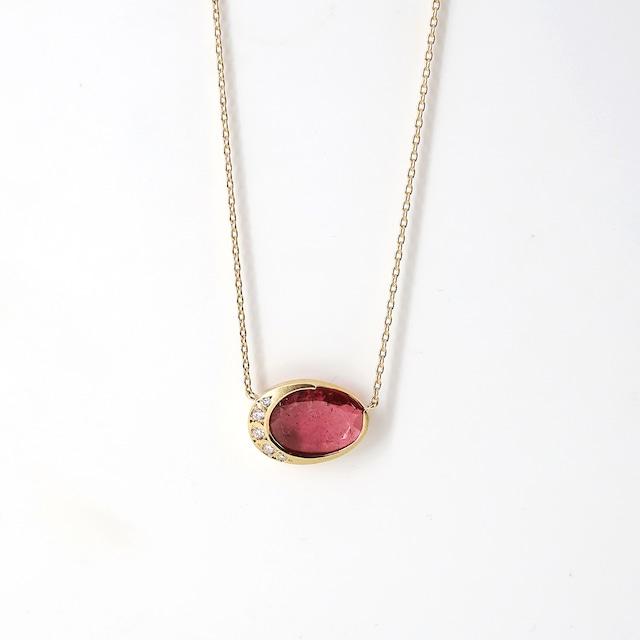 <NEW>Halo Pink Tourmaline Necklace