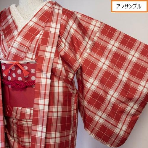 【美品】紬 さらりと軽い ガーリーレッド×白 チェック柄 羽織付き 丈162.5裄66.5