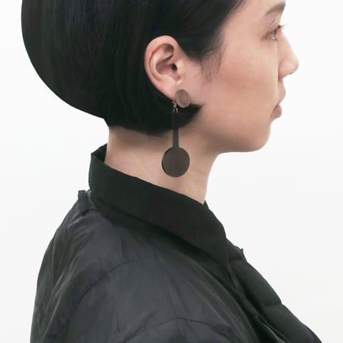 泥染/煤染/幾何学/片耳用ピアスイヤリング/E-6_SR_DR
