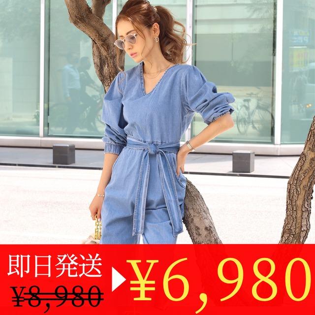 <1点即納セール>【高品質】ヴィンテージデニムパフスリーブロンパース