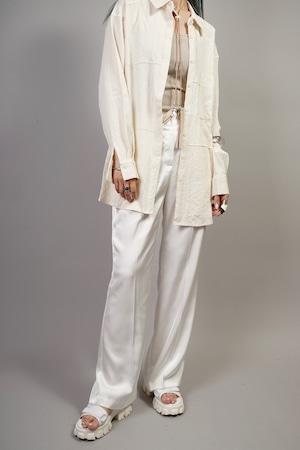SATIN STRAIGHT PANTS  (WHITE) 2106-264-HK63
