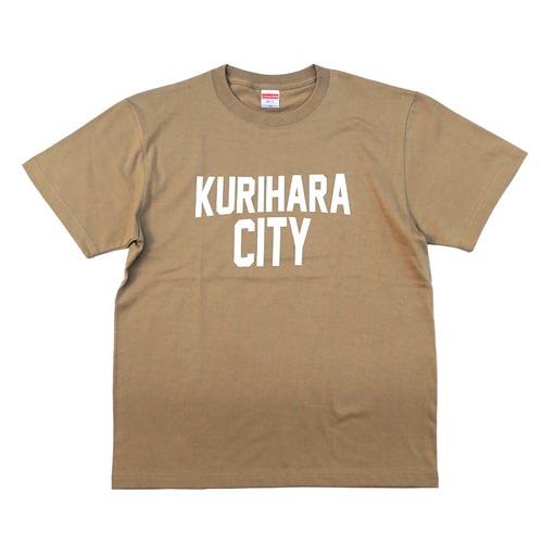 KURIHARA CITY 5.6oz ハイクオリティーTシャツ(サンドカーキ)