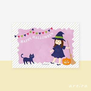 【ハロウィンカード】かわいい魔法使いと黒猫のイラスト