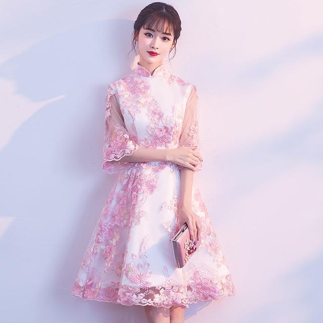 ショートチャイナドレス 刺繍チャイナドレス チャイナ風ワンピース パーティードレス 五分袖 大きいサイズ XS S M L LL 3L チャイナ風服 二次会 入園式 卒業式 イブニングドレス ピンク