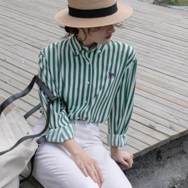 French stripe check shirt(フレンチストライプチェックシャツ)b-424
