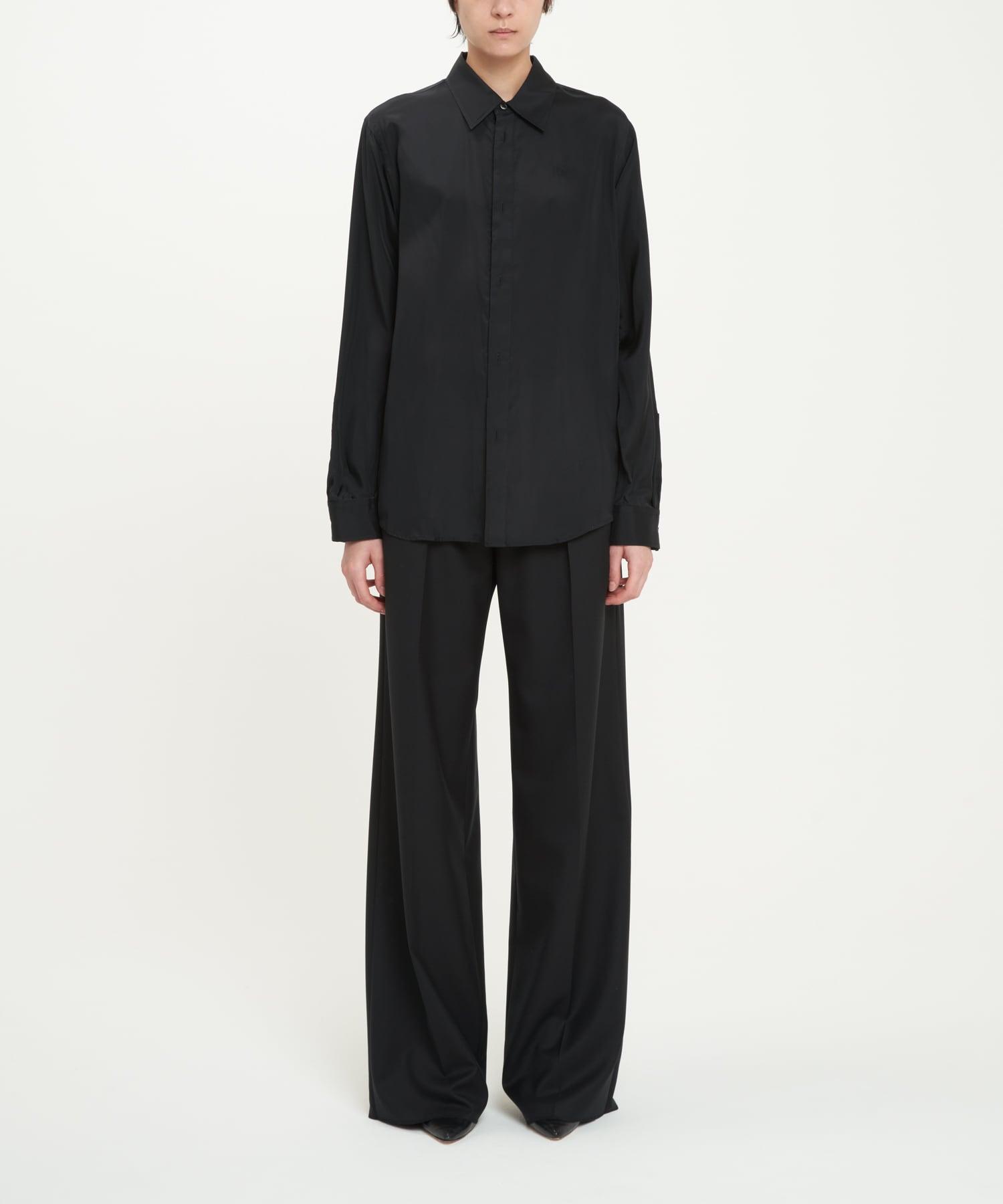 Black Double Buttonhole Cupro Shirt