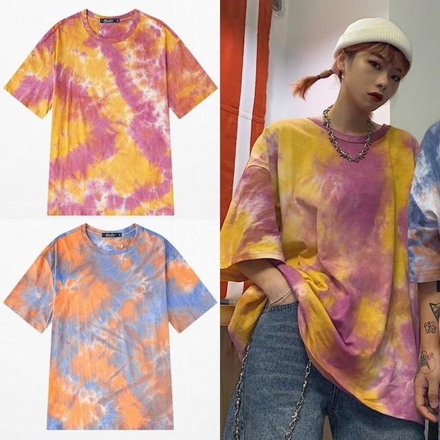 ユニセックス 半袖 Tシャツ メンズ レディース タイダイ染め オーバーサイズ 大きいサイズ ルーズ ストリート TBN-613122568909