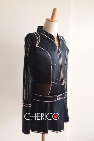 【L】エナメル×合皮/編みあけベスト/ベルト付きエナメルラップスカート