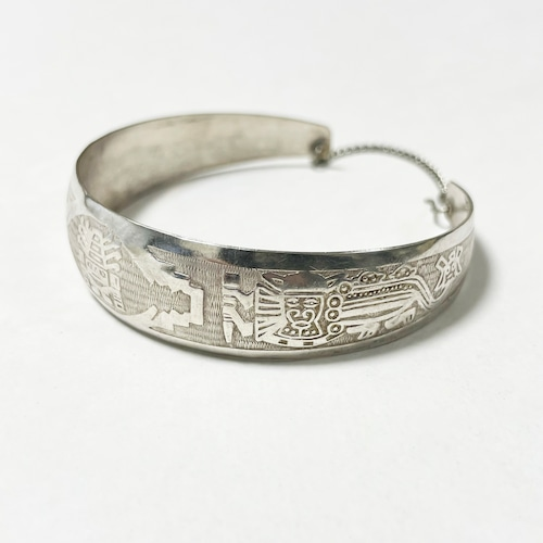 Vintage Peruvian Etched 925 Silver Cuff Bracelet
