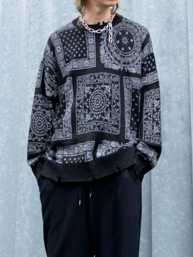 【UNISEX - 1 size】PAISLEY KNIT / Black