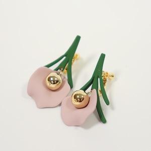 EARRINGS || 【通常商品】 SINGLE FLOWER EARRINGS PINK GREEN || 1 EARRINGS || GREEN x PINK || CRSR0708A