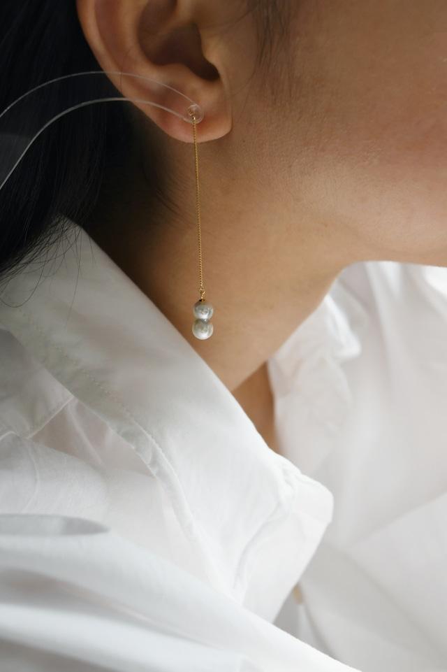 K18YG Akoya Twins Pearl Long Chain Earrings 18金イエローゴールドアコヤ双子真珠チェーンピアス