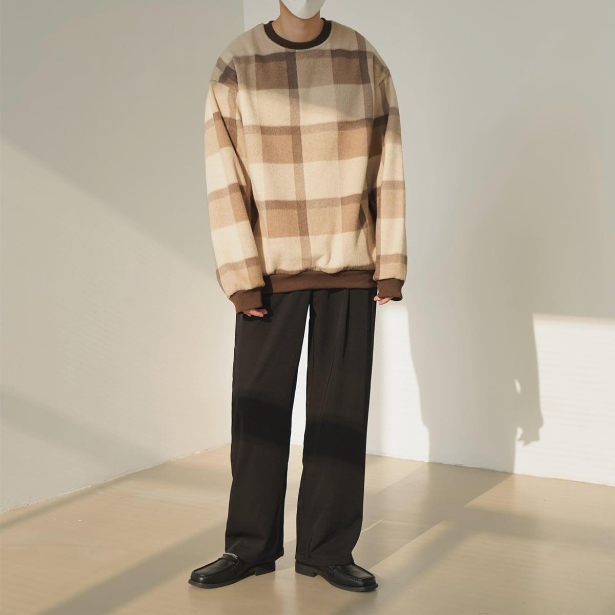 Retro check pullover sweater   b-441