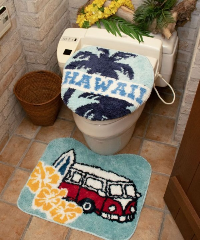 【kahiko/カヒコ】ハワイアンバストイレマット ブルー 洗濯機で丸洗いOK!