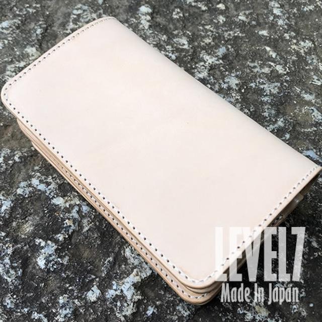 財布 スタンダードミドルウォレット ミシン仕立て イタリアンレザー ヌメ革 日本製 LEVEL7