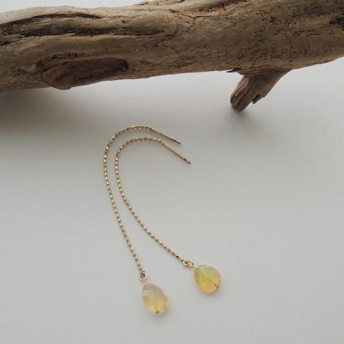 P008 opal  10Kchain pierced earring