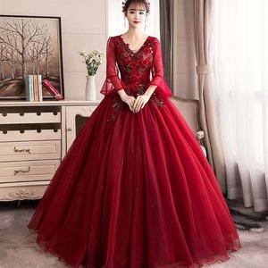 赤 カラードレス ロングドレス ウェディングドレス オフショルダー ステージ 忘年会ドレス 結婚式二次会 イブニングドレス Aライン プリンセス 発表会 披露宴 演奏会 大きいサイズ  小さいサイズ8017