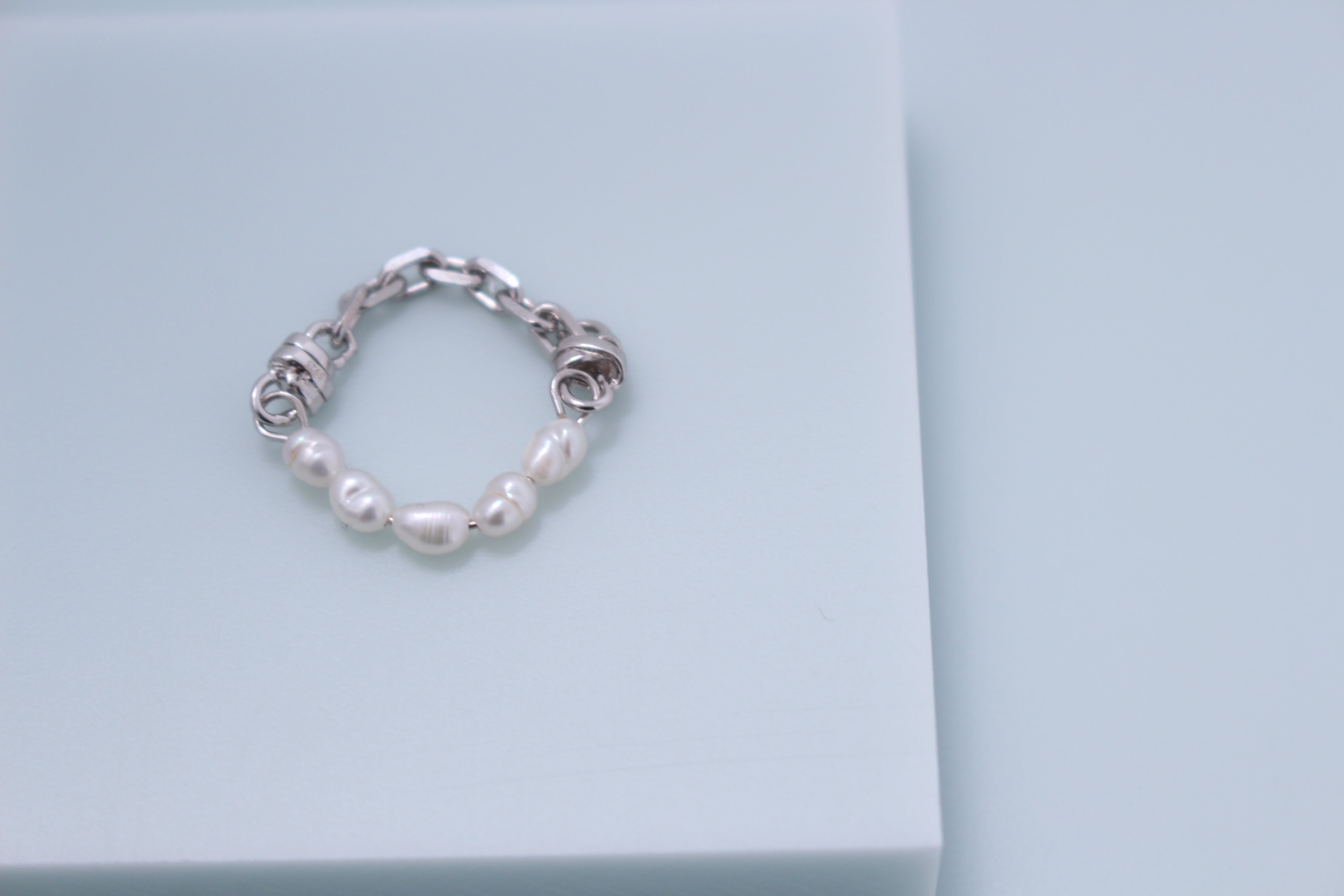 Vo.05【  PEARL CHAIN 】×   天然淡水パールリング × 925silver × 7-9  11-13