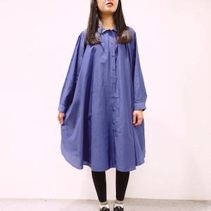 [ボタニカルダイ]綿シルクのロングシャツワンピース c8411-04001