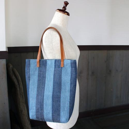 藍染リネン手織りトートバッグ(sb298)ヘリンボーン柄