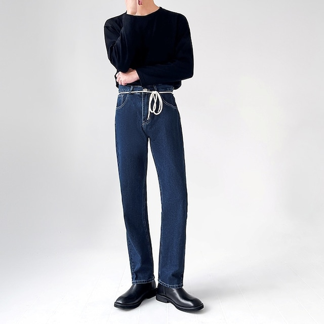 Strap design straight jeans   b-533