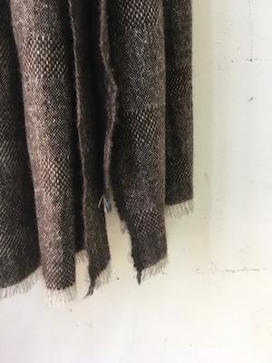"DA'S / Cashmere Sable Scarf ""abstract check pattern/brown""(ダズのカシミアセーブル素材のマフラー/ブラウン)"