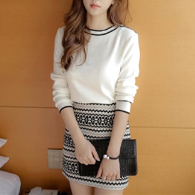 ✿人気販売中✿セットアップ ラウンドネック ニット 気質 長袖 ボタン ファッション ホワイト