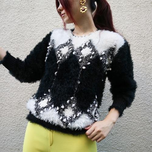 Euro shaggy knit sweater【Black × white】