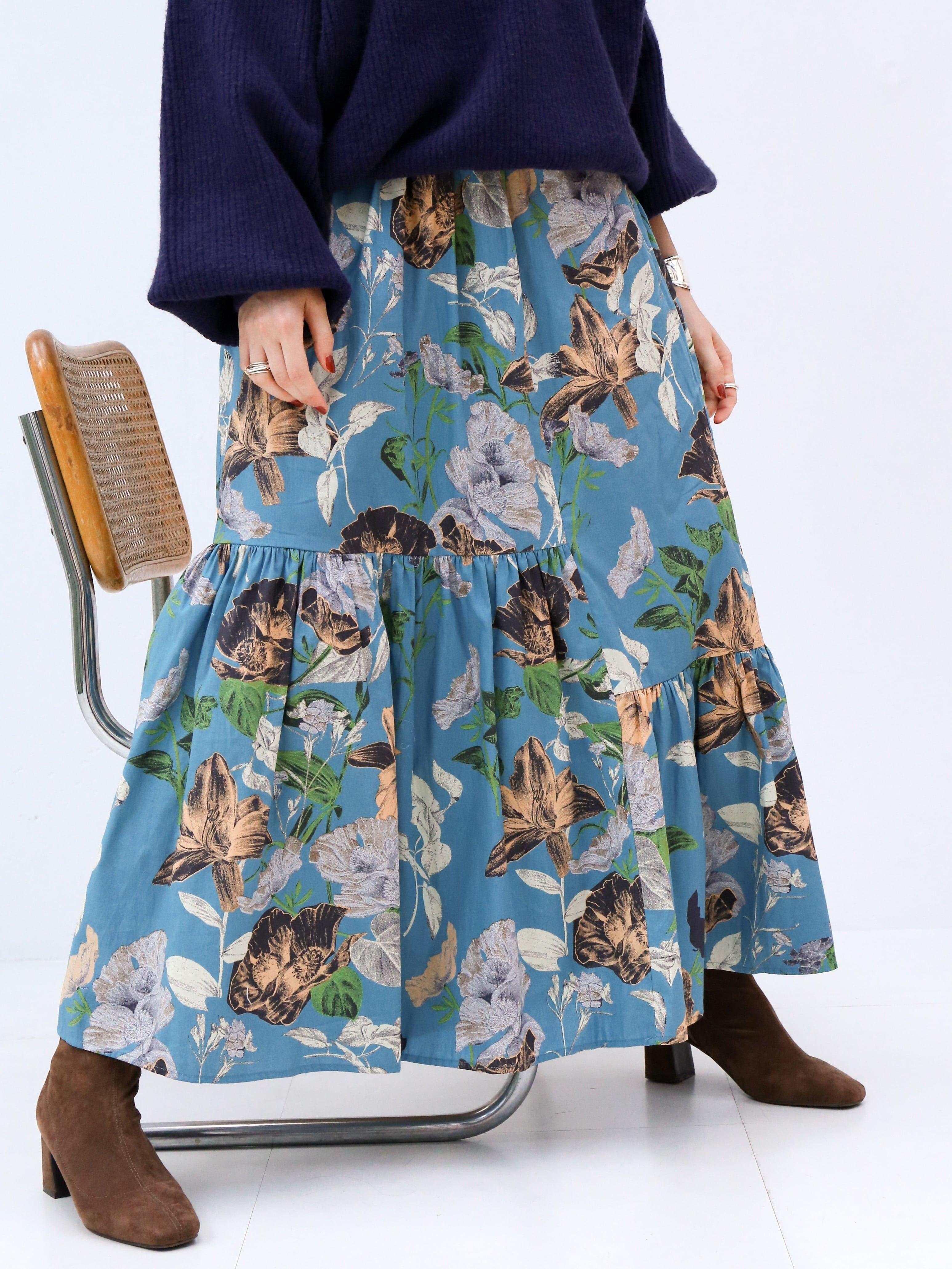 asymmetry tiered skirt(flower)
