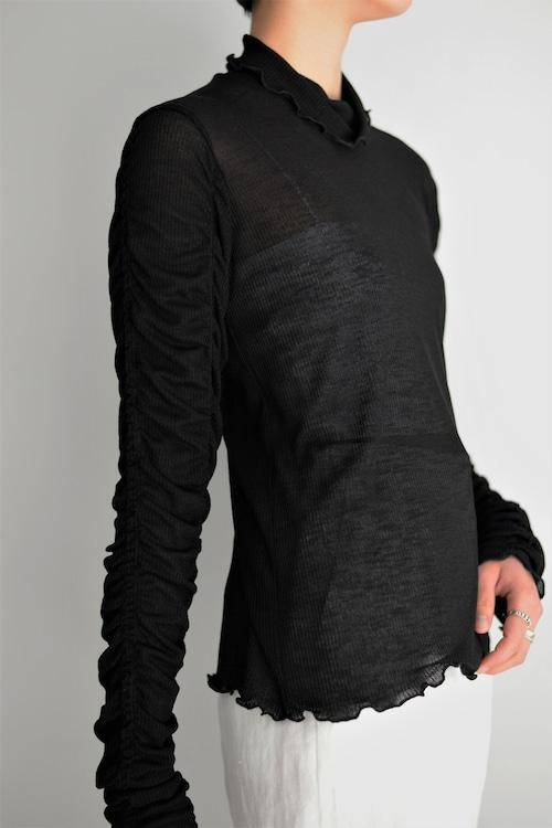 Create Clair / Shirring sleeve pullover (black)