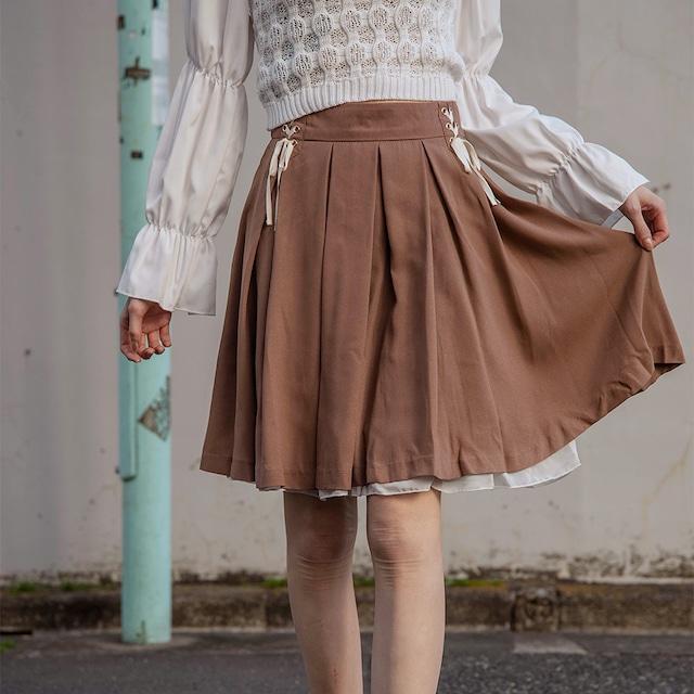 Wレースアップ裾シフォンタックフレアースカート (L21027-020)