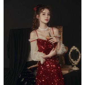 イブニングドレス スパンコール キャミソールワンピース 赤 レッド カラードレス ロングドレス 結婚式二次会 発表会 披露宴 演奏会 8026