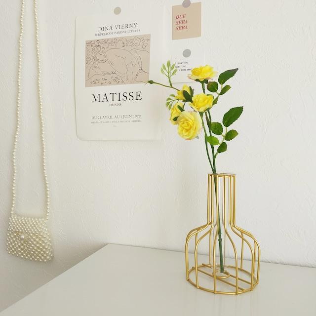 【送料無料】即納 ゴールドワイヤー フラワーベース|花瓶 韓国インテリア