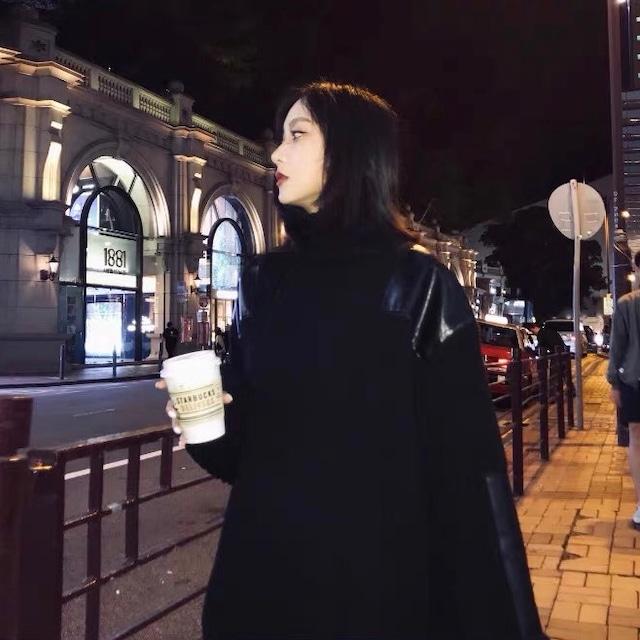 【即納】point leather knit