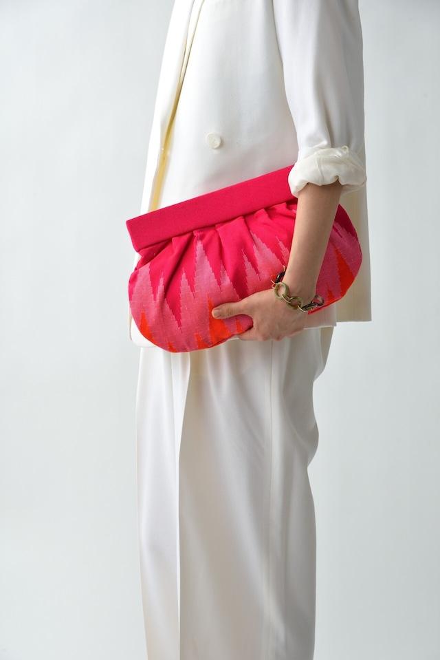 手織りクラッチL  ジグザグ柄  ピンク(再入荷)