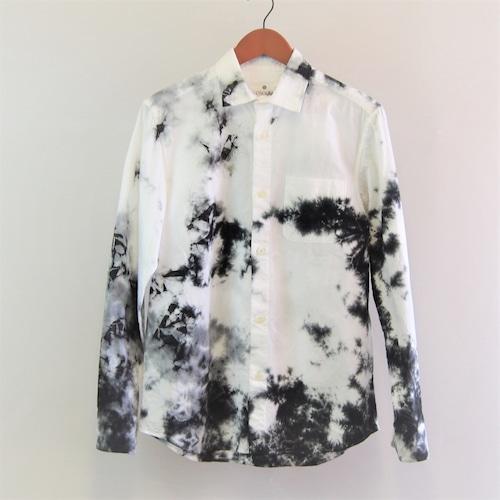 <OSOCU> Chita-momen shirt randam black 知多木綿×名古屋黒紋付染 黒むら染め シャツ