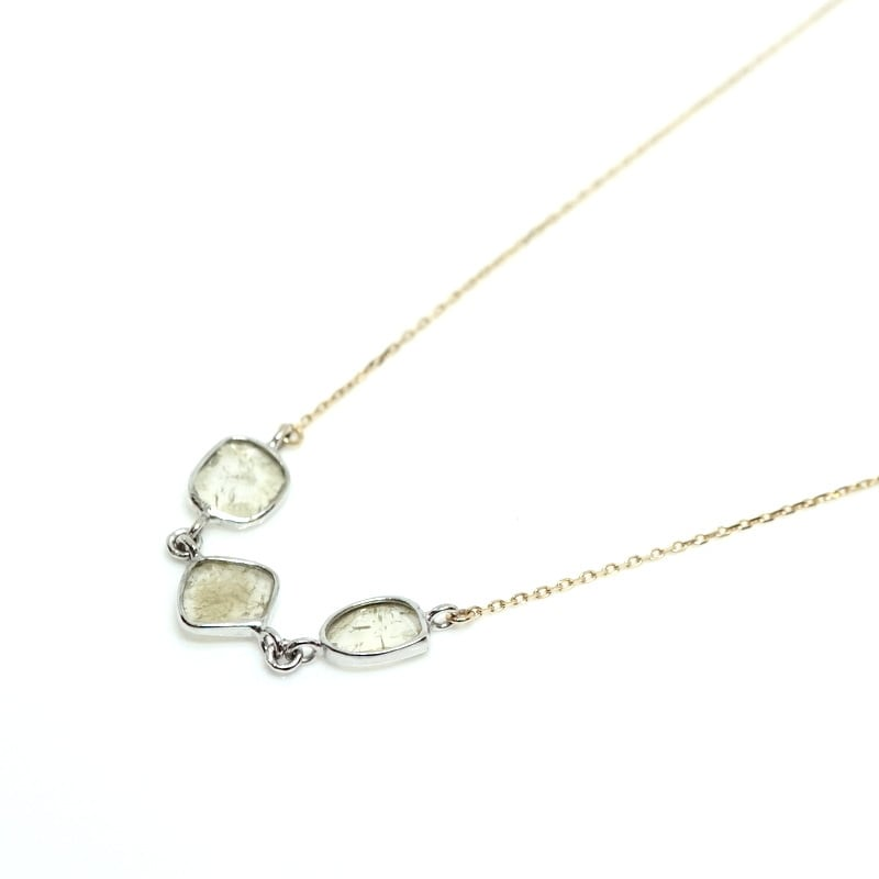 Slice 3P dia Necklace - K18YG,K18WG(数量限定)