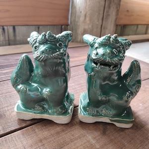 豆シーサー/オーグスヤー(緑釉)