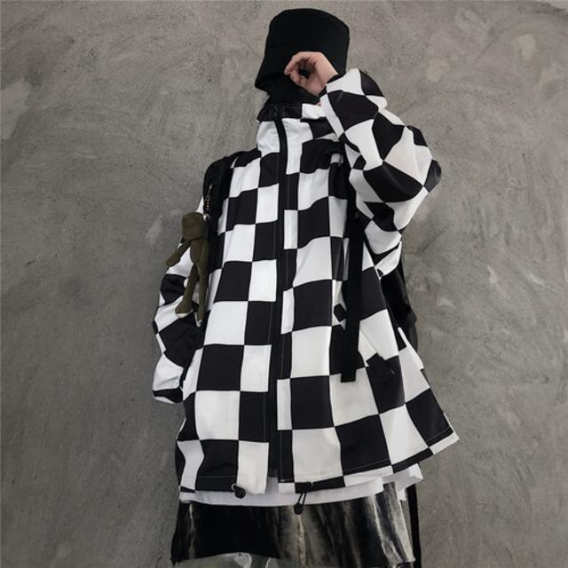 【アウター】 ストリート系チェック柄折り襟ジャケット42916106