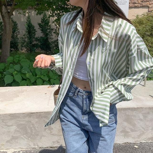 【シャツ】グリーンストライプシャツ