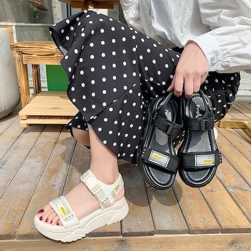 スポーツサンダル 厚底 スポサン 4.5cm ベルト 韓国ファッション レディース サンダル ローマン フラットサンダル 厚底サンダル フラット かわいい 歩きやすい 616934357190