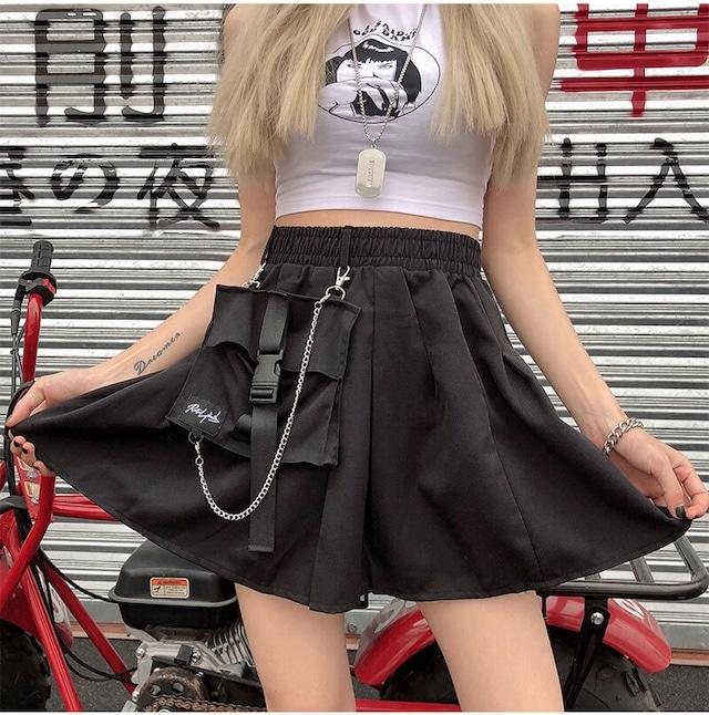 【ボトムス】ポケット付きトリート系無地ショート丈無地ミニスカート44632000