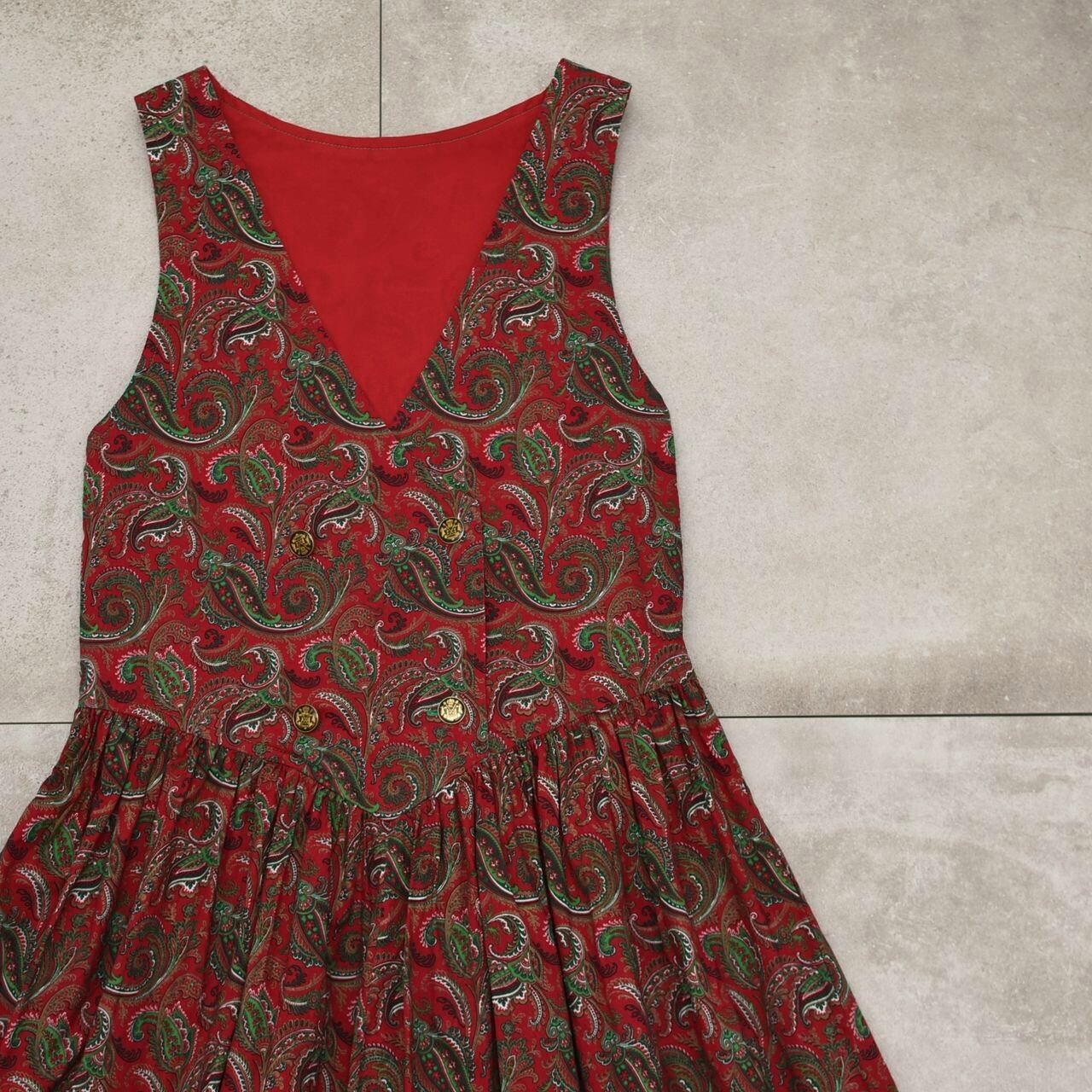 Double breasted paisley sleeveless dress